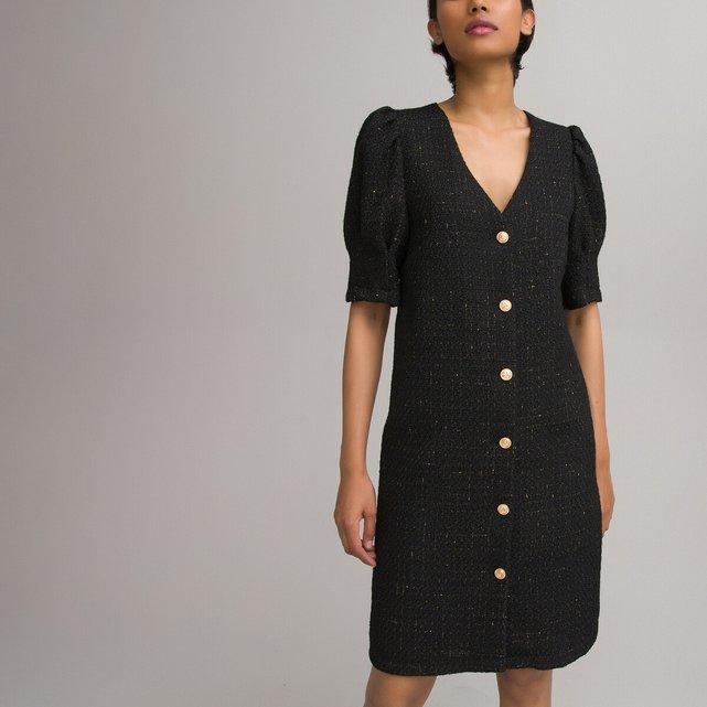 Κοντό φόρεμα με κουμπιά σε ίσια γραμμή