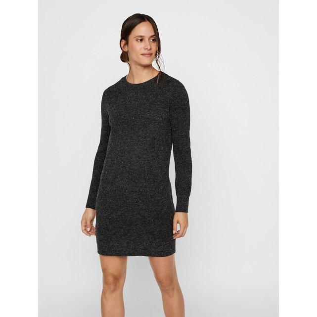 Ριχτό πλεκτό φόρεμα με στρογγυλή λαιμόκοψη