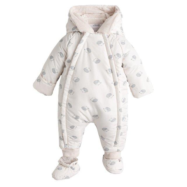 Ολόσωμο εμπριμέ μπουφάν με κουκούλα, 1 μηνός - 2 ετών