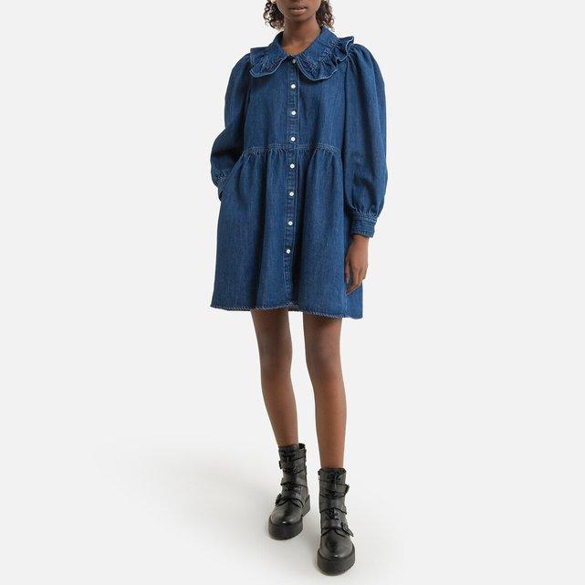 Τζιν φόρεμα με στρογγυλό γιακά και βολάν