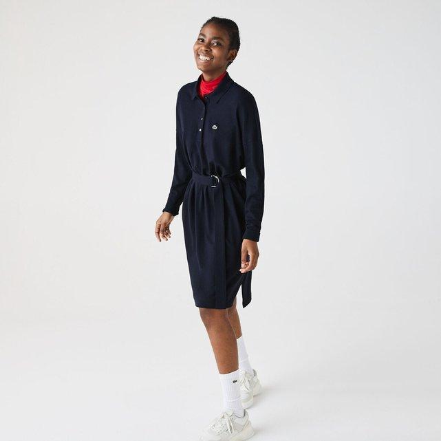 Μακρυμάνικο φόρεμα με πόλο γιακά και ζώνη