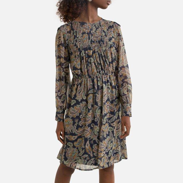 Μακρυμάνικο πλισέ φόρεμα