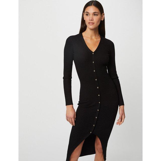 Μακρύ ριμπ φόρεμα με κουμπιά και σκίσιμο μπροστά