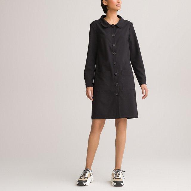 Κοντό ριχτό φόρεμα με κουμπιά και στρογγυλό γιακά