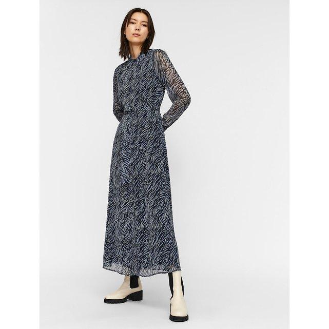 Μίντι σεμιζιέ φόρεμα με μοτίβο ζέβρας