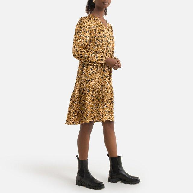 Εμπριμέ φόρεμα με V