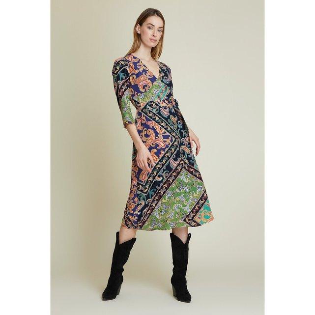 Μίντι φόρεμα με μανίκια 3|4 και εμπριμέ μοτίβο λαχούρια