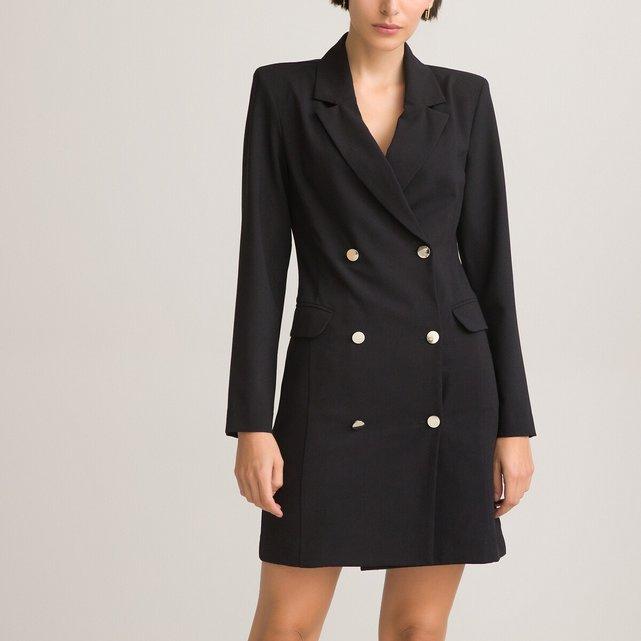Κοντό φόρεμα με πέτο γιακά και διπλό κούμπωμα
