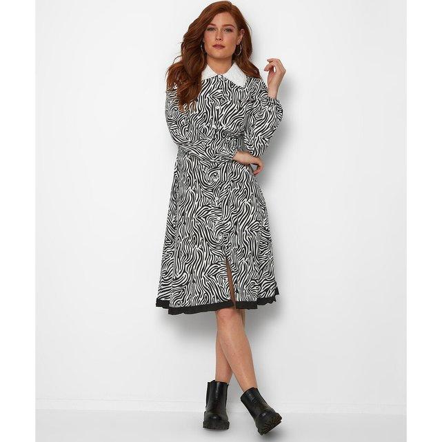 Φόρεμα με στρογγυλό γιακά και animal print