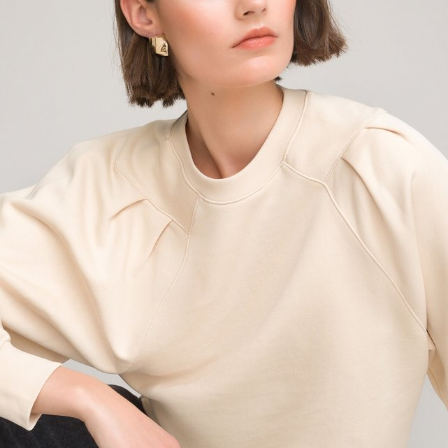 Μακρυμάνικο oversize φούτερ με στρογγυλή λαιμόκοψη