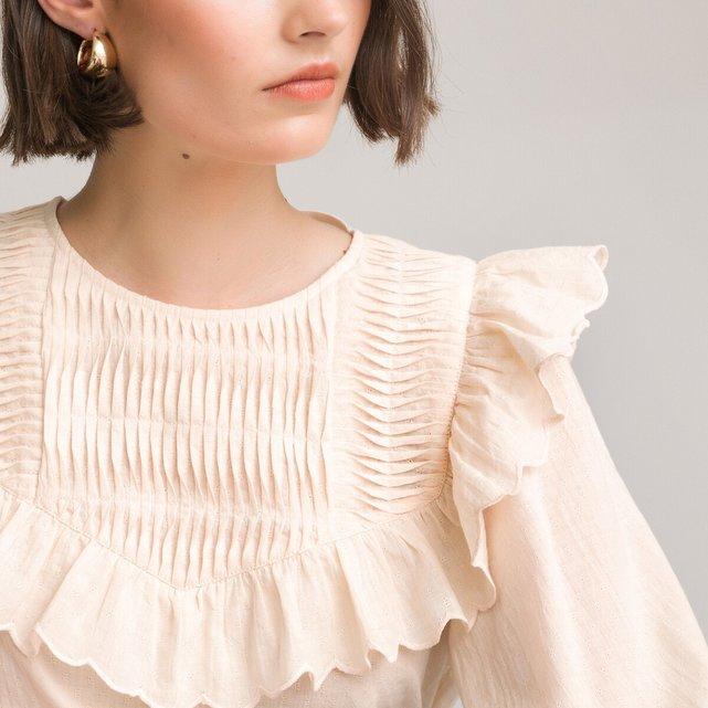 Μπλούζα με στρογγυλή λαιμόκοψη, πλισέ πλαστρόν και βολάν