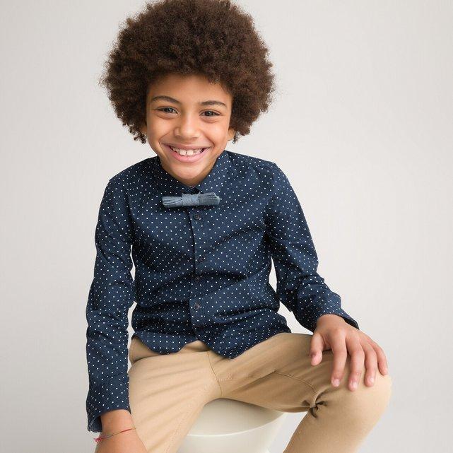 Εμπριμέ πουκάμισο με αφαιρούμενο παπιγιόν, 3-14 ετών
