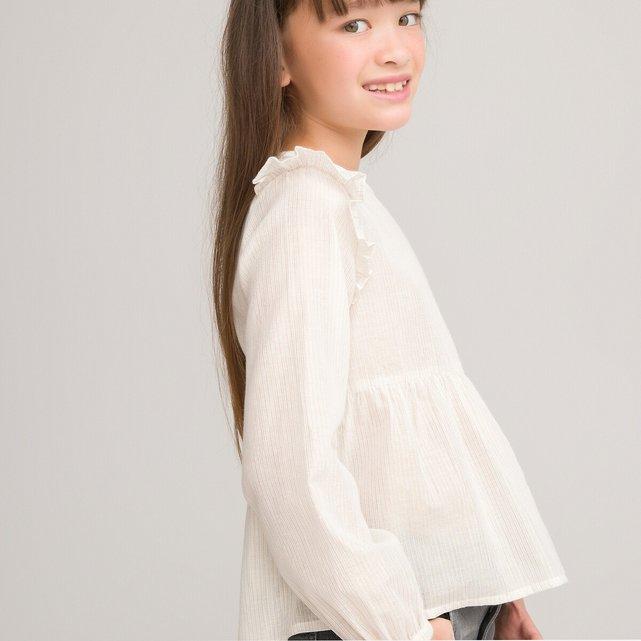 Μακρυμάνικη μπλούζα με λεπτές ρίγες και βολάν, 3-12 ετών