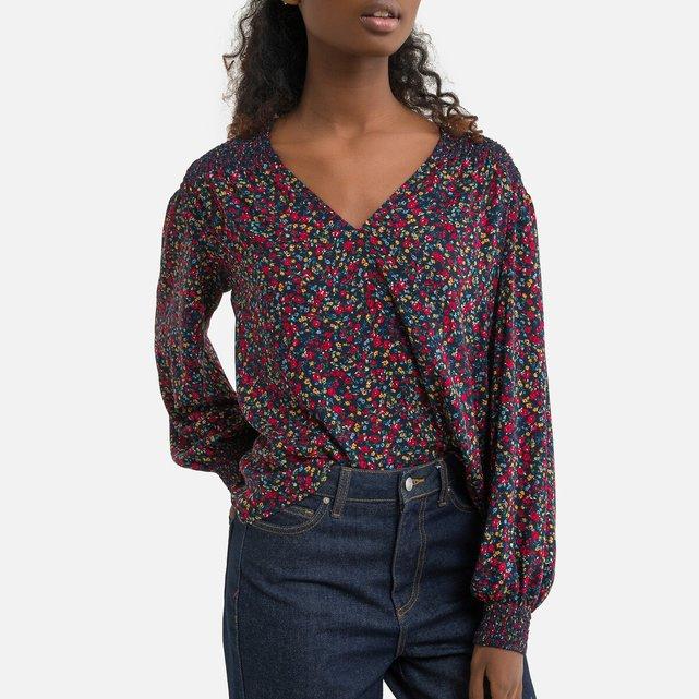 Φλοράλ μπλούζα με V και balloon μανίκια