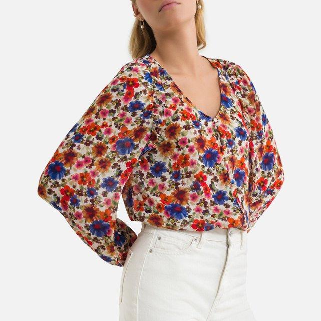 Φλοράλ πουκάμισο με V