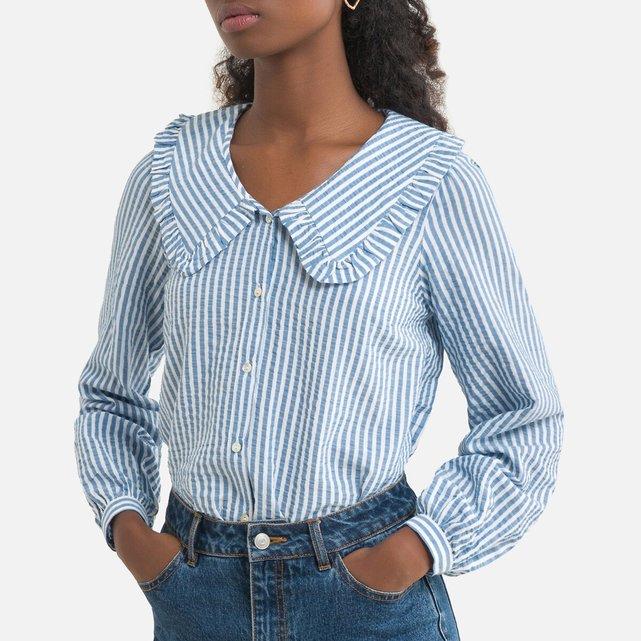 Ριγέ πουκάμισο με μεγάλο γιακά