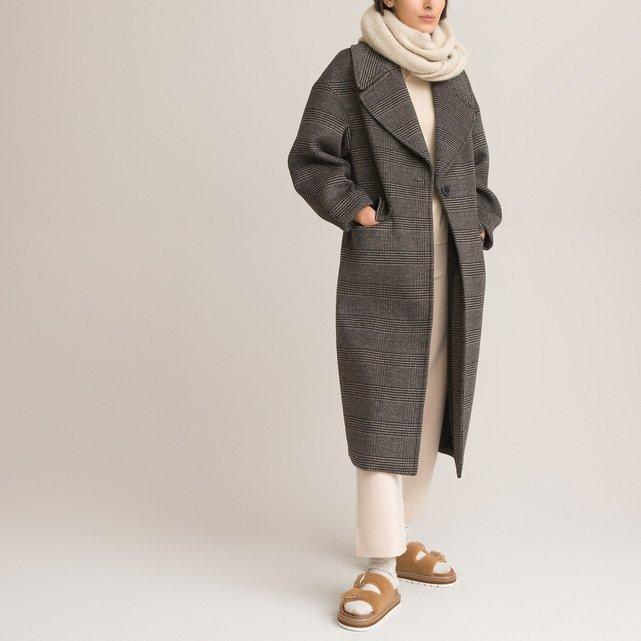 Καρό παλτό με μαλλί στη σύνθεση