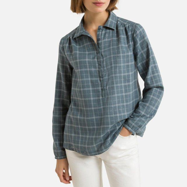 Καρό μακρυμάνικη μπλούζα