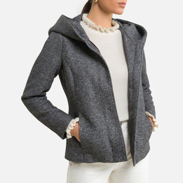 Κοντό ελαφρύ παλτό με φαρδιά κουκούλα