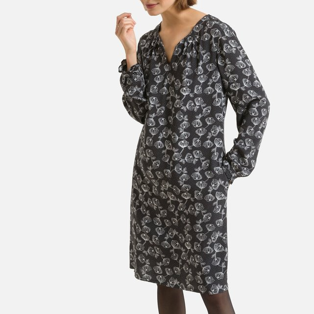 Ίσιο φόρεμα με δίχρωμο φλοράλ μοτίβο