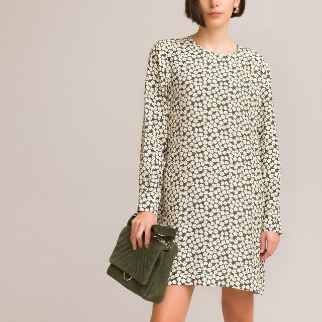 Φόρεμα με στρογγυλή λαιμόκοψη και δίχρωμο φλοράλ μοτίβο