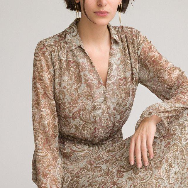 Μακρύ φόρεμα με V και μοτίβο λαχούρια