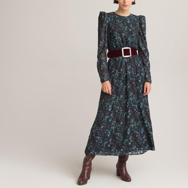 Μακρύ εμπριμέ φόρεμα με στρογγυλή λαιμόκοψη