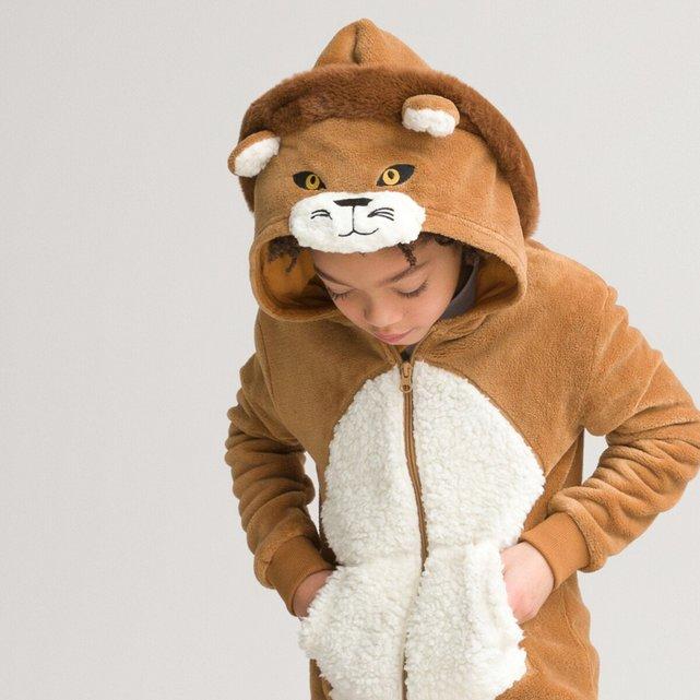 Ολόσωμη φλις πιτζάμα με κουκούλα-λιοντάρι, 3-14 ετών