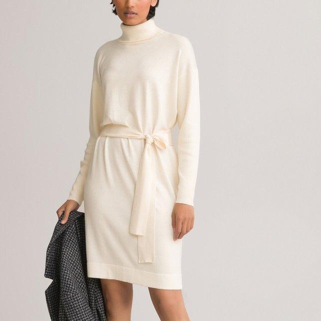 Πλεκτό μακρυμάνικο φόρεμα με λαιμό ζιβάγκο