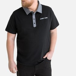 Κοντομάνικη Jersey Μπλούζα Polo με γιακά Chambray