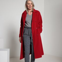 Wool Blend Coat with Large Faux Fur Collar & Belt&