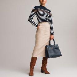 Stretch Cotton Satin Skirt, Length 75cm