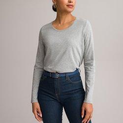 Plain, Long-Sleeved, Crew-Neck T-Shirt