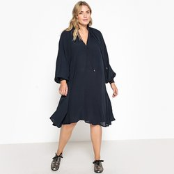 Μακρυμάνικο εβαζέ φόρεμα με V λαιμόκοψη