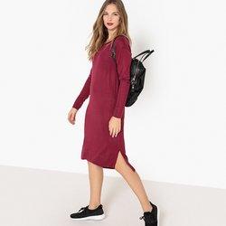 Μακρυμάνικο μίντι φόρεμα σε ίσια γραμμή
