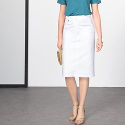Stretch Cotton Satin Pencil Skirt, Length 64cm