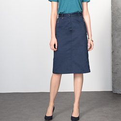 Stretch Cotton Satin Pencil Skirt, Length 64cm
