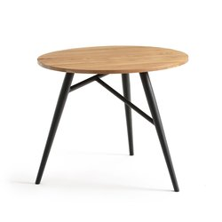 Crueso Oak-Topped Round Table, Seats 3