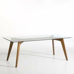 Ορθογώνιο τραπέζι από τζάμι και ξύλο καρυδιάς Kristal