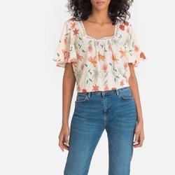 Κοντομάνικη μπλούζα με τετράγωνη λαιμόκοψη και δαντέλα