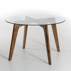 Στρογγυλό τραπέζι από γυαλί και καρυδιά Kristal, διαμέτρου 130 εκ.