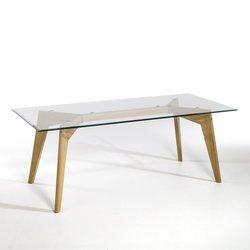 Ορθογώνιο τραπέζι από γυαλί και βελανιδιά Kristal