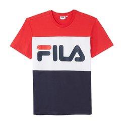 Τρίχρωμο T-shirt με στρογγυλή λαιμόκοψη