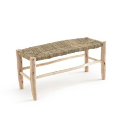 Παγκάκι GHADA, από ακατέργαστο ξύλο ιτιάς και πλεκτό