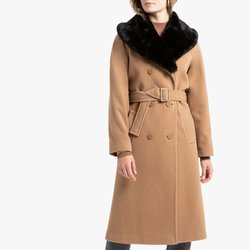Wool Blend Coat with Large Faux Fur Collar & Belt&