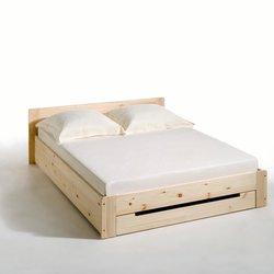 Κρεβάτι από μασίφ ξύλο πεύκου με τάβλες και συρτάρι, Crawley