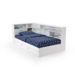 Σύνολο κρεβατιού με συρόμενο κρεβάτι, αποθηκευτικούς χώρους και τάβλες, YANN