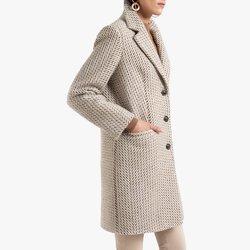 Παλτό με κουμπιά και σχέδιο ψαροκόκκαλο