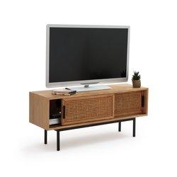 Έπιπλο TV από ξύλο δρυ και ψάθα με 2 πόρτες, WASKA
