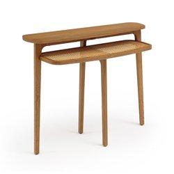 Κονσόλα από ξύλο δρυ και ψάθα με διπλή επιφάνεια, BUISSEAU